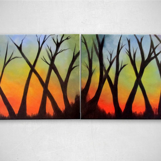 "Treehuggers Unite: Acrylic painting on canvas - diptych 16""x20"""